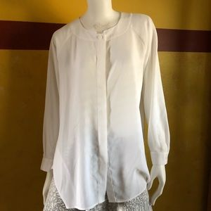 Cabi Collarless Long Sleeve Button Down Blouse